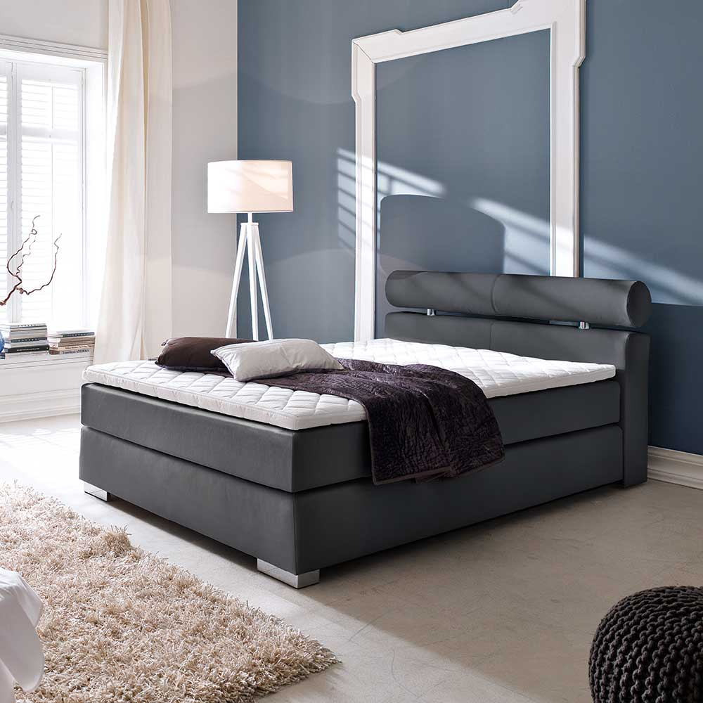 boxspring bett f r jugendzimmer schwarz alles. Black Bedroom Furniture Sets. Home Design Ideas