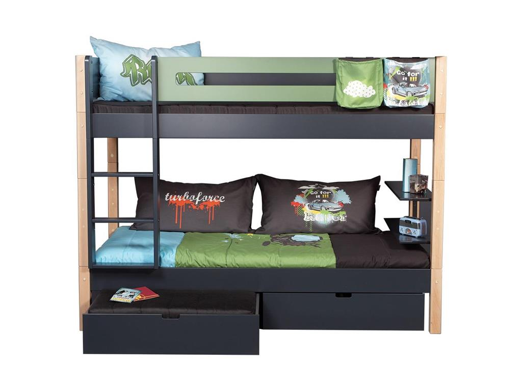manis h etagenbett frigg anthrazit inkl w hlbarer. Black Bedroom Furniture Sets. Home Design Ideas