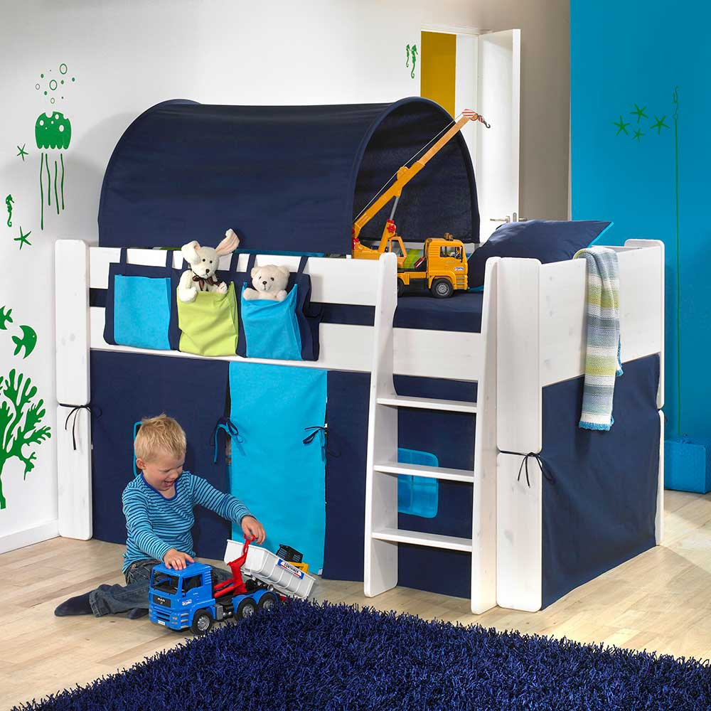 halbhohes kinderbett mit tunnel und vorhang blau wei 4 teilig alles. Black Bedroom Furniture Sets. Home Design Ideas