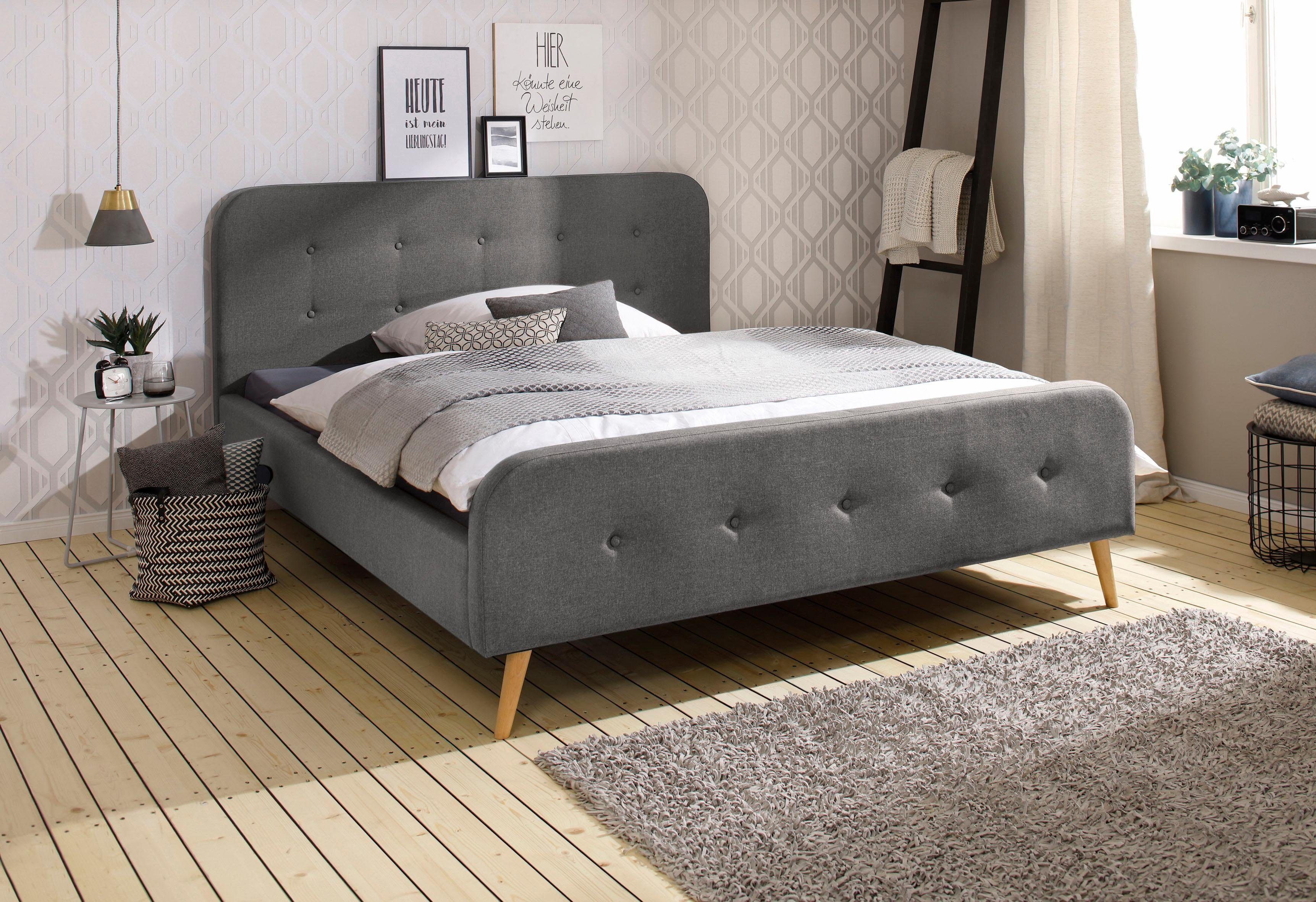 home affaire boxspringbett grau 160 200cm struktur fein amrum fsc zertifiziert alles. Black Bedroom Furniture Sets. Home Design Ideas