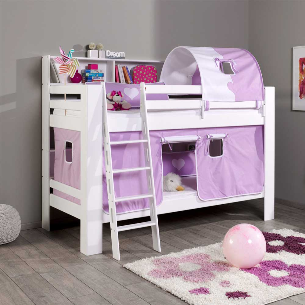kinderetagenbett in wei lila tunnel und vorhang alles. Black Bedroom Furniture Sets. Home Design Ideas