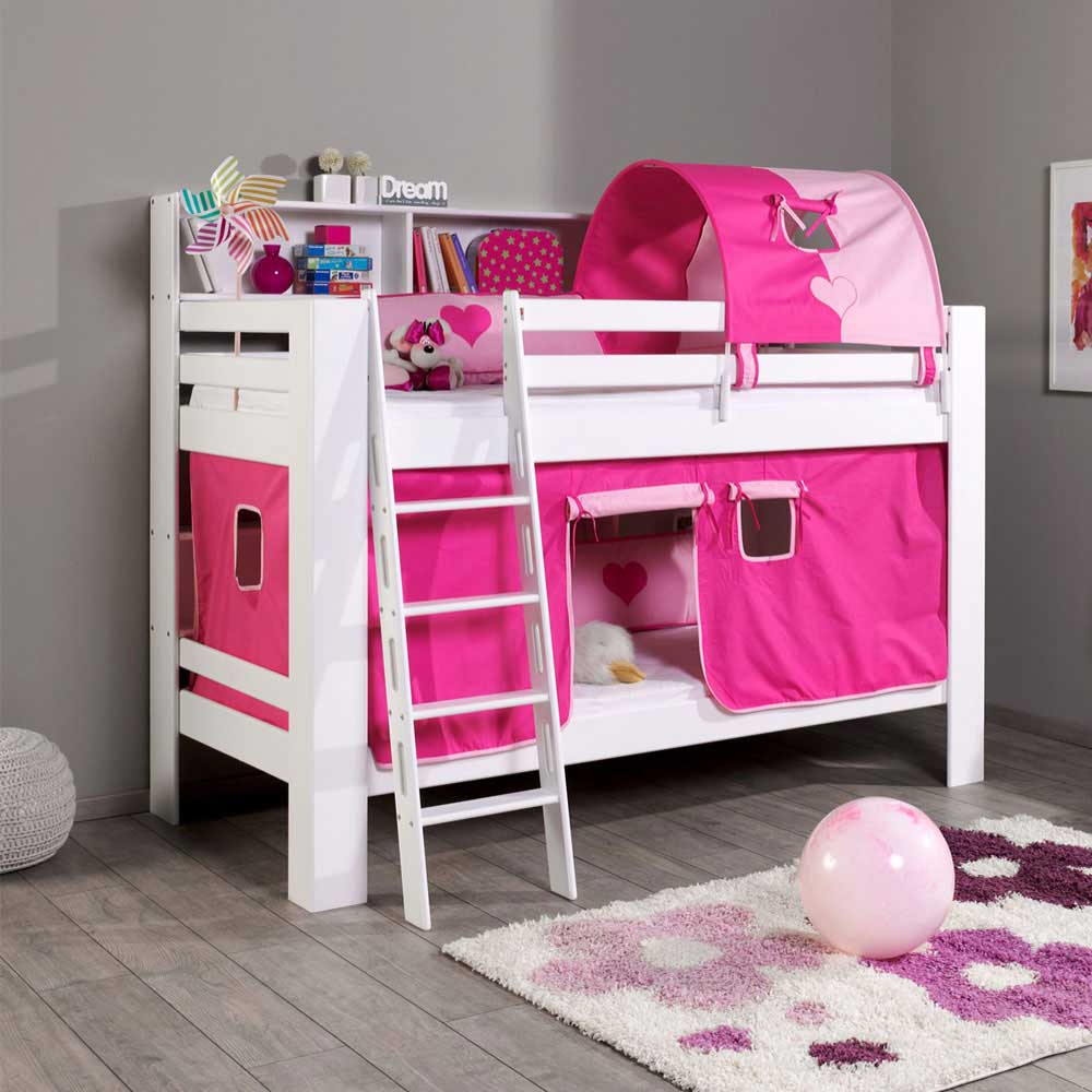 kinderstockbett in pink rosa mit vorhang alles. Black Bedroom Furniture Sets. Home Design Ideas