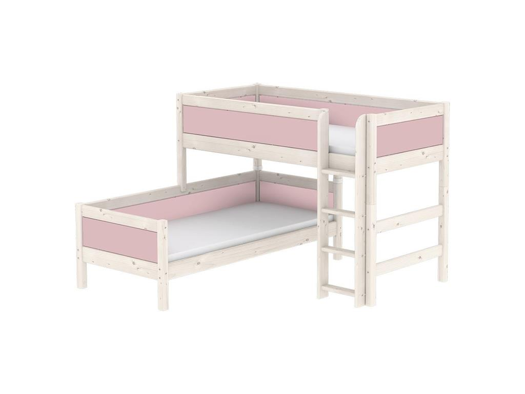 flexa harmony kombi etagenbett mit gerader leiter 90x200cm nordic rose 80 21902 66 alles. Black Bedroom Furniture Sets. Home Design Ideas